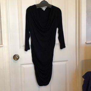 CAbi Black Jersey cowl neck dress